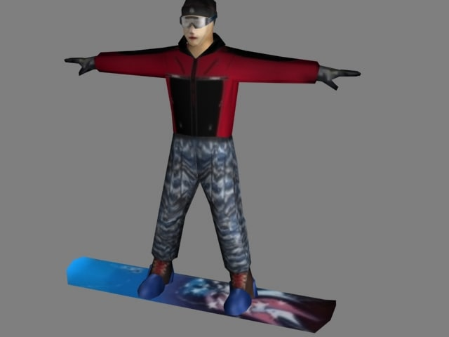 snowboarder rigged including animation 3d max