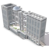 3d model of fuji television headquarters