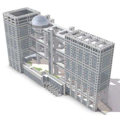3d model of fuji television headquarters