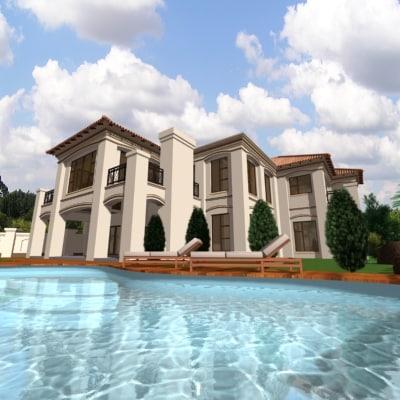 3d golf estate house modern