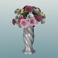 3d Roses in Vase