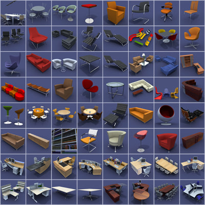 3d office furniture pack model