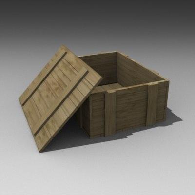 3d model box wood wooden