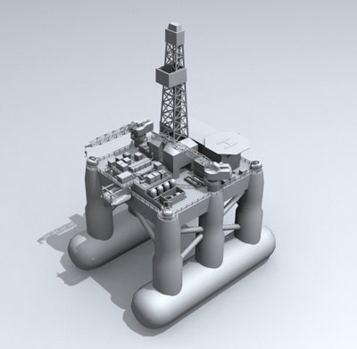 semi oil rig 3d model