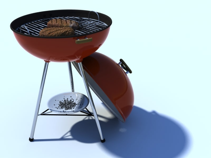 3d model of classic barbeque grill
