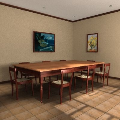 farm table chairs 3d model