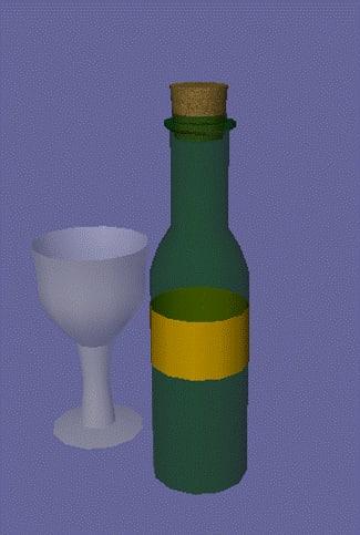 wine bottle glass 3d 3ds