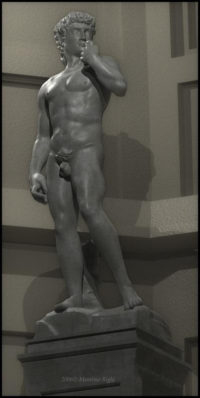 3d michelangelo david statue