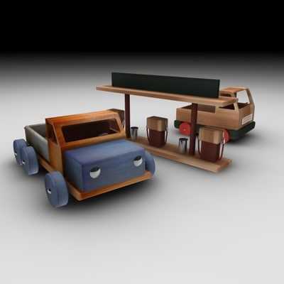 wood truck 3d