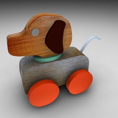 3d model wood dog