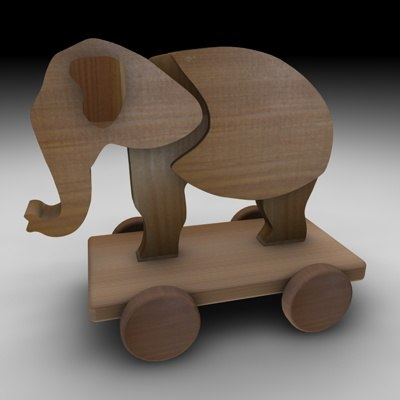 3dsmax wood elephant