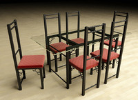 3d model dining table chairs wrought iron