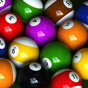 billiard balls 3 sets 3d max
