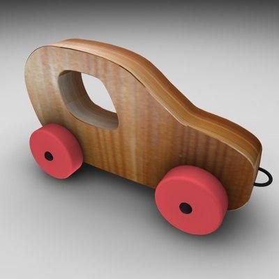wood car 3d 3ds
