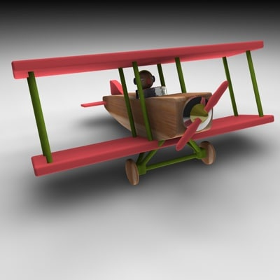 3d wood airplane model