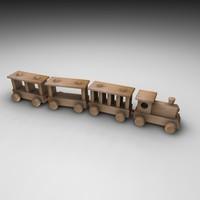 3d model wood train