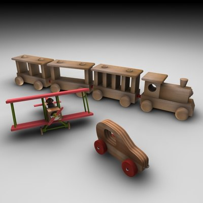 train airplane toy 3d model