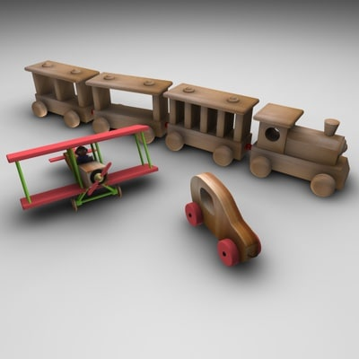 3d model train airplane toy