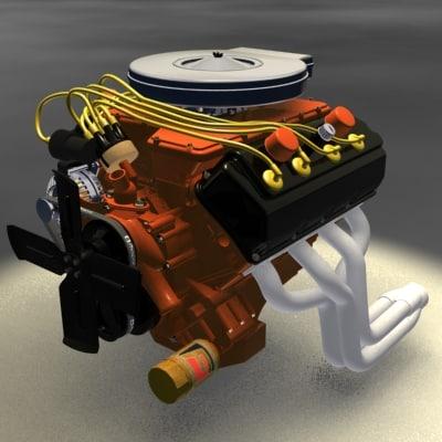 3d model 426 hemi racing engine