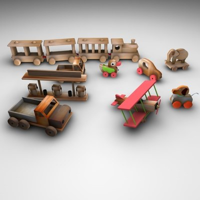 3d model of wood toy