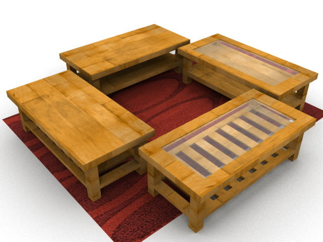 3d model set coffee table