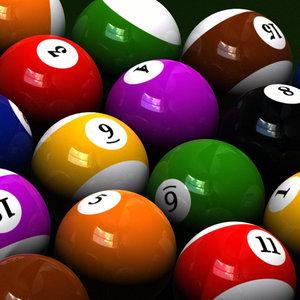 sets 3 billiard balls 3d model