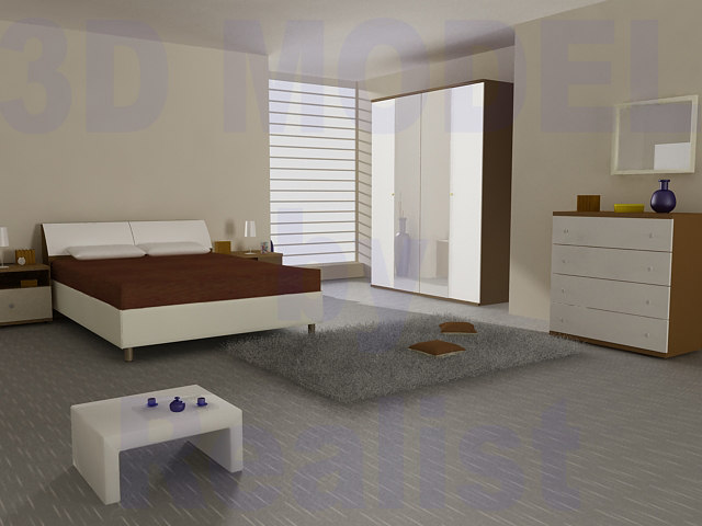 bedroom room bed 3d model