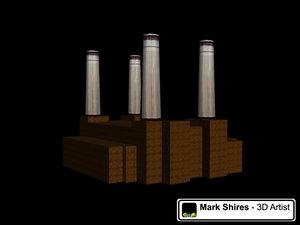 battersea power station landmark 3d model