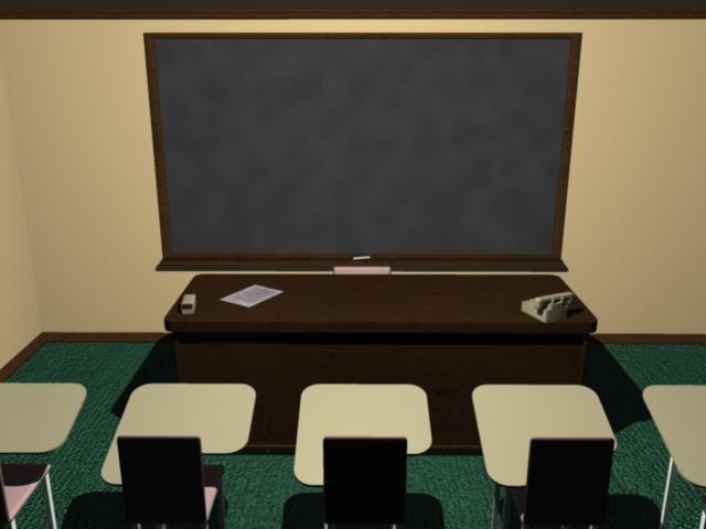 3d model classroom student desks