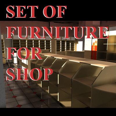3d model set furniture store