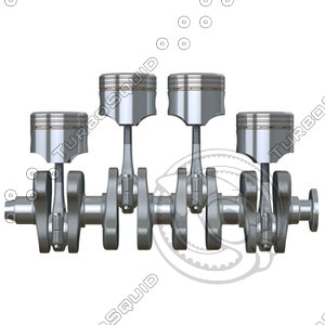 pistons crankshaft c4d