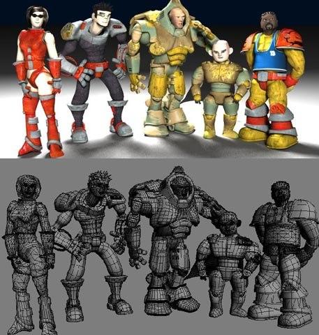 3d model 5 cartoon characters