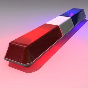 3d model police warning light