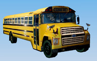 US School Bus - Low Polygon