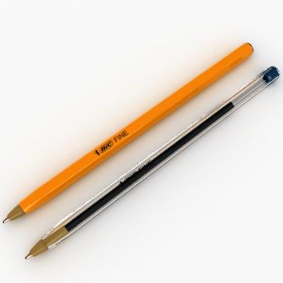 bic pens 3d max