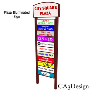 3d model of plaza illuminated sign
