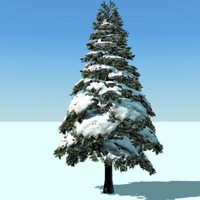 3d snow pine