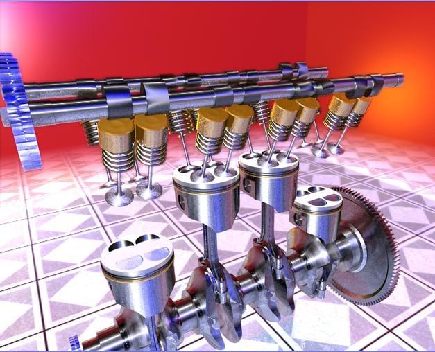 inline 4 engines 3d model