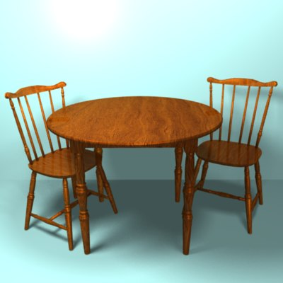 3ds max table chair