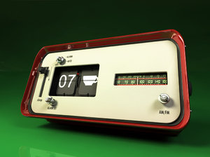 3d model flip clock radio cklock