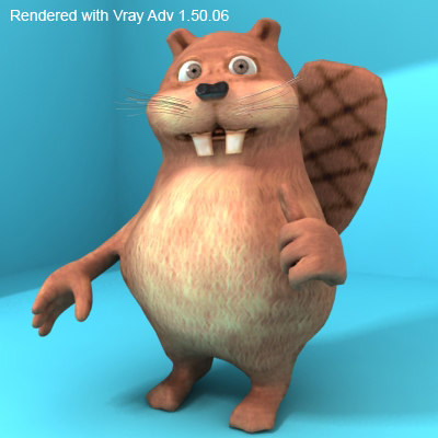 funny cartoon beaver 3d model