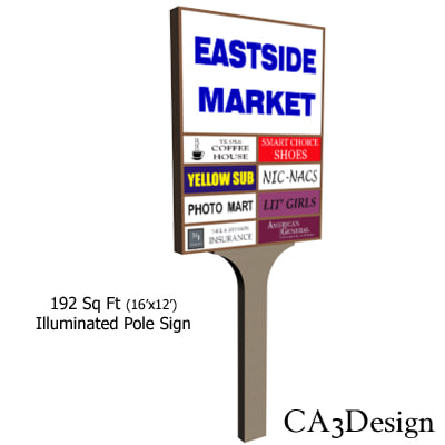 illuminated sign freestanding 3d model