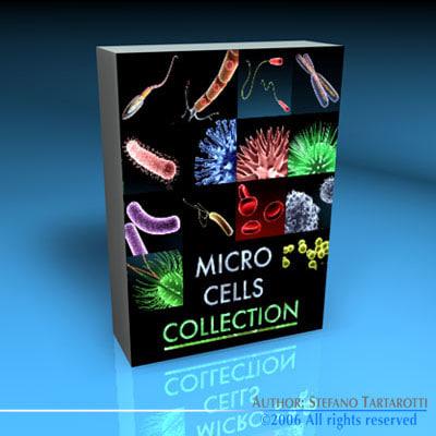 3d microscope cells bacteria virus model