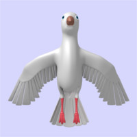 3d model cartoon dove