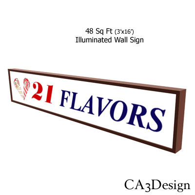 3d model illuminated wall sign