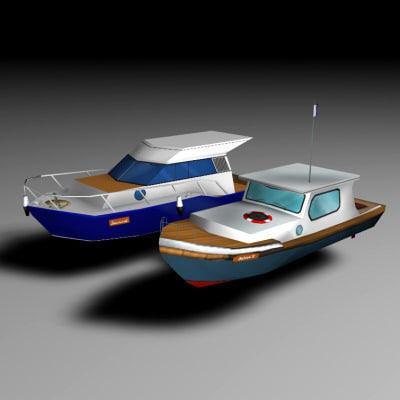 motorboats diving fishing 3d model