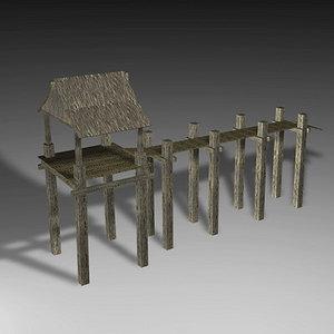 3d model island palmwood jetty