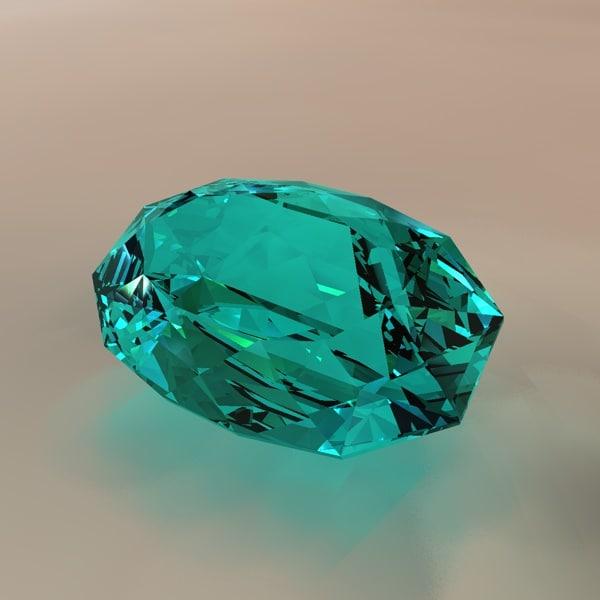 oval cut gem 3d c4d