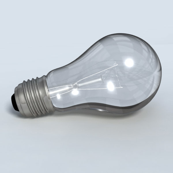 3d incandescent light bulb model