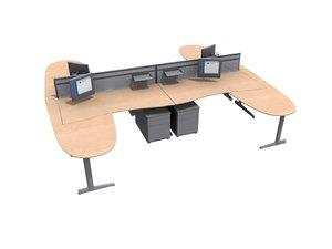 3d ahrend broker office workstation model